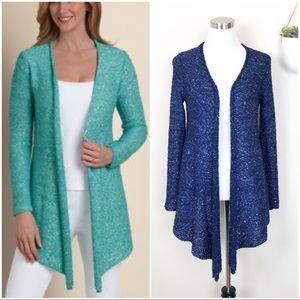 •SOFT SURROUNDINGS• Shimmer Sequin Open Cardigan